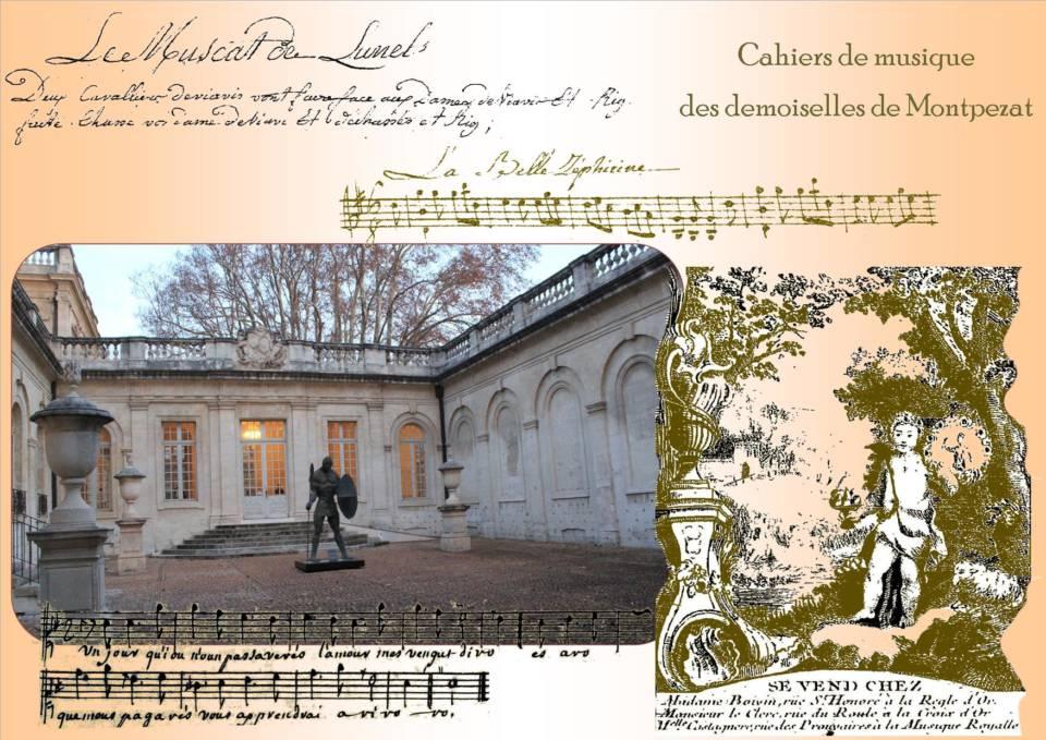 les cahiers de musique des demoiselles de Montpezat, dont Zéphirine marquise de Taulignan, quelques ouvrages extraits de la bibliothèque de Guillaume Renaud conservés à la bibliothèque Ceccano d'Avignon