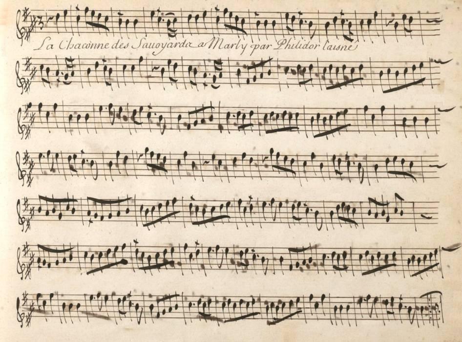 """La chaconne des savoyards composées par André Philidor Danican dit """"Philidor l'aîné"""""""