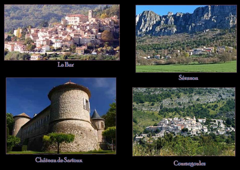 Villages du Bar, Séranon, Mouans-Sartoux, Coursegoules dans la région de Grasse (Alpes-Maritimes)
